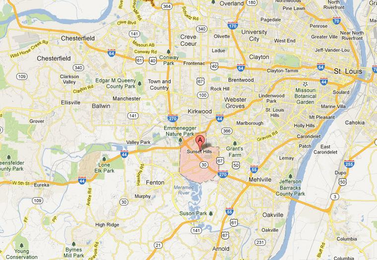 Sunset Hills Mo 63127 Appliance Repair Service Map Areas